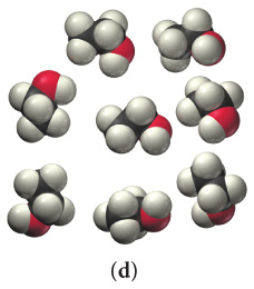 The figure shows one type of cluster. There are eight clusters. Each of them contains a chain consisting of two fused black spheres with six white spheres and one red sphere attached.