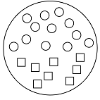 A collection of small circles and squares where the circles are on one side of the sample and the squares on the other. The circles represent an atom of one type of element and squares represent an atom of a second type of element.