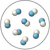 The figure shows eight chaotically arranged molecules, each consisting of a blue sphere connected to a white sphere.