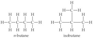 N-butane: A chain of four carbons joined by single bonds. The end Cs are CH3s and the middle Cs are CH2s. Isobutane: A chain of three Cs joined by single bonds. The end Cs are CH3s and the middle C is a CH single bonded above to CH3.