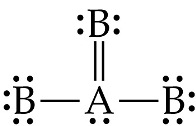 A has a pair of dots below, and is single bonded left and right to B, which each have three pairs of dots, and double bonded above to B, which has two pairs.