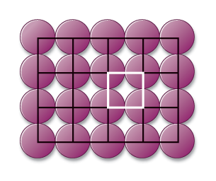 The figure shows a two-dimensional lattice which consists of 4 rows per 5 circles. The lattice is divided by grid so that each square of the grid contains 4 quarters of 4 neighboring circles. One of these squares is painted white.
