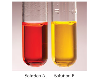 Two solutions in test tubes.  Solution A is red and solution B is yellow.