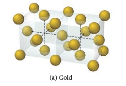 The figure shows a lattice structure for gold. The structure consists of two cubes that have a common face. There is a sphere in each vertex and in the center of each face.