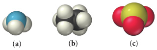 Three space filling molecular models: a, b, and c. Molecule a is a central blue sphere surrounded by three light-gray spheres. Molecule b is two black spheres surrounded by six light-gray spheres. Molecule c is a central green sphere surrounded by three red spheres.