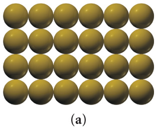 The figure shows 24 yellow spheres arranged in four rows of six spheres.