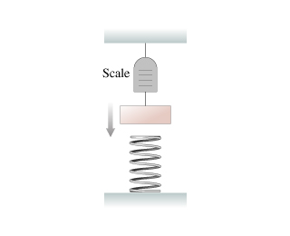 A figure shows a block suspended from a spring scale attached to the ceiling. The block is slowly being lowered onto a larger spring on the floor.
