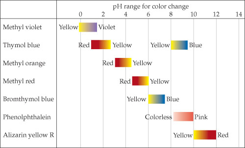 Methyl violet has a pH range of 0 to 1.4 with a color range of yellow to violet.  Thymol blue has a pH range of 1 to 2.8 and 8 to 9.5 with a color range of red to yellow and yellow to blue.  Methyl orange has a pH range of 3 to 4.3 and a color range of red to yellow.  Methyl red has a pH range of 4.5 to 6 and a color range of red to yellow.  Bromothymol blue has a pH range of 6 to 7.5 and a color range of yellow to blue.  Phenolphthalein has a pH range of 8 to 10 and a color range of colorless to pink.  Alizarin yellow has a pH range of 10 to12 and a color range of yellow to red.