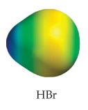 HBr appears as a small sphere fused with a much larger sphere.  The molecule appears with a steady gradient, progressively ranging from medium electron density on the larger end to low electron density on the smaller end.