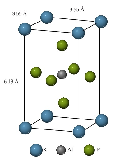 A rectangular cuboid has K as the corners, Al in the center, and 6 F atoms around the center. The height is 6.18 angstroms and length and width are 3.55 angstroms.