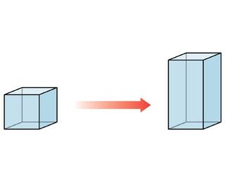 A cube goes to a tall, rectangular cuboid shape.