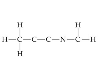 A C is single bonded above, left, and below to H, and right to C, which is single bonded right to C.  That C is single bonded right to N, which is single bonded right to C. That C is single bonded above and right to H.