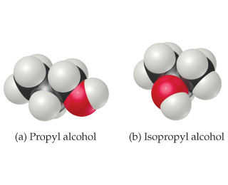 Space-filling models of propyl alcohol and isopropyl alcohol. In propyl alcohol, the OH group is on a terminal carbon, while in isopropyl alcohol, it is on the central carbon.