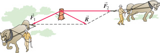 The two horses are pulling horizontally on ropes attached to a stump. The first horse is pulling to the southwest and the second horse is pulling to the east. The resultant force R and the force of the first horse have the same magnitude and make a right angle.