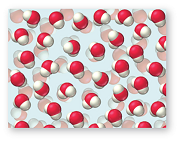 Densely packed water molecules.