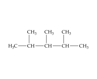 A CH is single bonded left and above to CH3 and right to CH, which is single bonded above to CH3 and right to CH.  That CH is single bonded above and right to CH3.