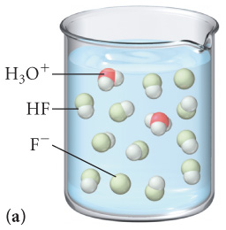 The figure labeled A shows a beaker filled with a solution which contains 2 molecules of H3O plus, 9 molecules of HF and 2 molecules of F minus.