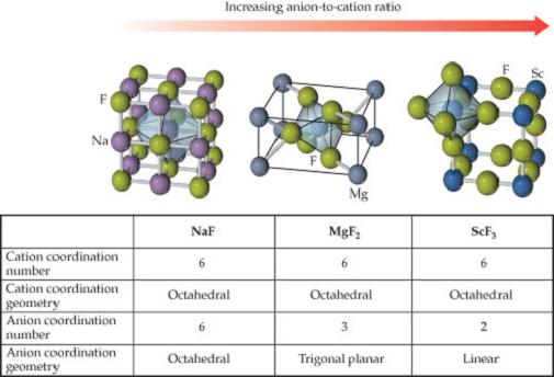 Sodium fluoride has the cation coordination number 6, with octahedral geometry and the anion coordination number is also 6 with octahedral geometry. Magnesium difluoride has the cation coordination number 6, with octahedral geometry and the anion coordination number is 3 with trigonal planar geometry. Scandium trifluoride has the cation coordination number 6, with octahedral geometry and the anion coordination number is 2 with linear geometry.