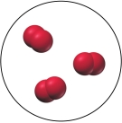 A collection of three molecules, each consisting of two red spheres combined.