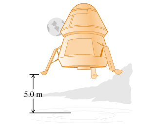 The figure shows a lunar lander landing on the Moon. The vertical distance from the lander to the ground is shown to be 5.0 meters.