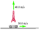 The cart is moving horizontally to the right at 30.0 meters per second. It launches a rocket vertically upward, that has an initial velocity of 40.0 meters per second relative to the cart.
