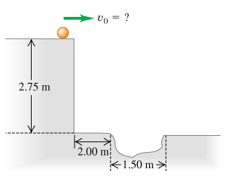 The marble is rolling horizontally to the right off the top of a 2.75 meters tall platform at an unknown speed labeled as v0. There is a 1.50 meters wide hole in the ground 2.00 meters to the right from the base of the platform.