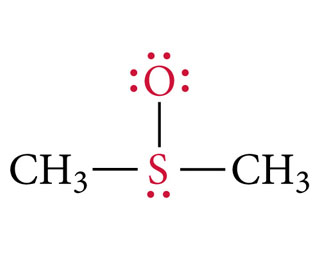 CH3S(O)CH3, a resonance structure of dimethyl sulfoxide showing a single bond connecting the S and O atoms. The S and O atoms are highlighted in red.