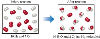 Before the reaction, there are 10 H2 and 7 O2 molecules. After the reaction, there are 10 H2O, 2 O2, and no H2 molecules.