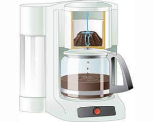An automatic drip coffee maker.