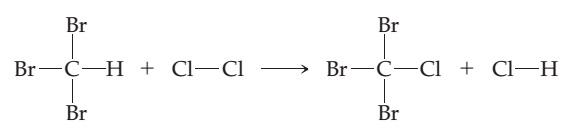 CHBr3 plus Cl2 goes to CClBr3 plus HCl.