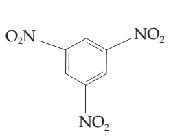 The figure shows a structure of TNT (trinitrotoluene). It has a six-membered ring with alternating single and double bonds, with a CH3 group attached to the first carbon atom and an NO2 group attached to the second, fourth, and sixth carbon atoms.