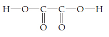 O is single bonded left to H and right to C.  That C is double bonded below to O and single bonded right to C, which is also double bonded below to O.  The C is also single bonded right to OH.