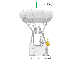 The figure shows a balloon rising with a vertical velocity of 5.00 meters per second. A balloonist is holding a sandbag 40.0 meters above the ground.