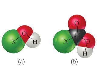 a) An O is single bonded to X and H. A C is double bonded to O and single bonded to X and OH.