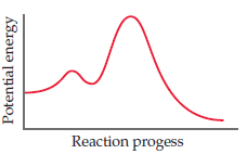 A graph has reaction progress on the x-axis and potential energy on the y-axis (both axes unscaled). A curve rises to a low peak, then a trough, then a high peak, then declines to the final state (below the initial state).