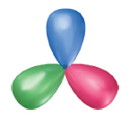 Three balloons connected end-to-end, forming a triangle shape.