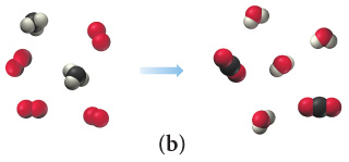 Scene B depicts four molecules each composed of two red spheres combined and two molecules each composed of a black sphere combined with four gray spheres forming two molecules of a black sphere combined with two red spheres and four molecules of a red sphere combined with two gray spheres.