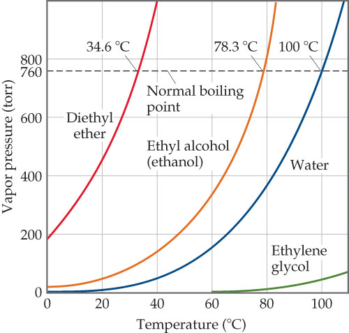 The x-axis is temperature (degrees C), ranging from 0 to 100 with intervals of 20. The y-axis is vapor pressure (torr), ranging from 0 to 800 with intervals of 200. There is a horizontal dotted line at 760 torr, which intersects the curve for three of the substances plotted at their normal boiling points. Ethylene glycol never intersects the dotted line. Diethyl ether is 0 degrees celsius at 200 torr, 18 degrees at 400 torr, 25 at 600, 34.6 (normal boiling point) at 760, and 36 at 800. Ethyl alcohol, or ethanol, is near 0 degrees celsius at 0 torr, 48 degrees at 200 torr, 65 degrees at 400 torr, 75 at 600, 78.3 (normal boiling point) at 760, and 80 at 800. Water is 0 degrees celsius at 0 torr, 65 degrees at 200 torr, 82 degrees at 400 torr, 92 at 600, 100 (normal boiling point) at 760, and 105 at 800. Ethylene glycol is 60 degrees celsius at 0 torr.  Its highest pressure is about 90 at a temperature of 110.