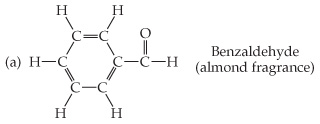 Benzaldehyde (almond fragrance) is a six-carbon (hexagon) ring, with double bonds in alternating sides. The first double bond is in the top. All of the Cs except the right point are single bonded out of the ring to H; the right point is single bonded to a C that is double bonded above to O and single bonded right to H.