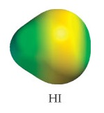 HI appears as a small sphere fused with an even larger sphere.  The molecule appears with a slight gradient, ranging from medium electron density on the larger end to low-medium electron density on the smaller end.