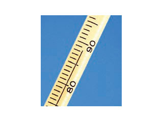A tape measure graduated to the nearest unit, which are unknown. The measurement is just past the 88th graduation mark on the tape measure.