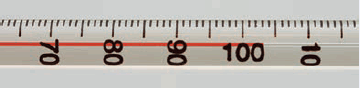 The figure shows a thermometer which has marks for each 1 degree. The temperature is about 103 degrees.