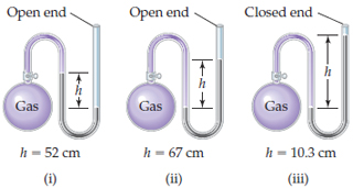 Diagrams (i) to (iii) show an apparatus consisting of a gas flask on the left attached to a U-shaped tube of mercury with an open end at the right; in part (iii), the tube is closed at the end. The height of the mercury varies for each gas. In (i) the left side is higher, but in (ii) and (iii) the right side is higher.
