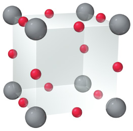 The figure shows a unit cell of rhenium oxide. It looks like a cube with gray balls in each corner of that cube and a red ball in the center of each edge of the cube.
