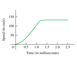 The plot shows the flea's jumping speed as a function of time. Time is measured from 0 to 2.5 milliseconds on the x-axis. The speed is measured from 0 to 150 centimeters per second on the y-axis. The speed smoothly increases from 0 milliseconds and 0 centimeters per second to 1.5 milliseconds and 130 centimeters per second forming a convex curve. Then the speed stays at this value until 2.5 seconds.