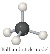 A Ball-and-stick model consists of a central sphere (carbon) which is single bonded to four smaller spheres (hydrogens), forming a pyramid shape. The single bonds are represented by sticks.