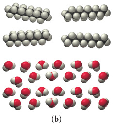 The figure labeled (b) shows four space-filling molecules of the first type and twenty four space-filling molecules of the second type. The first type molecules are arranged above the second type molecules. Each molecule of the first type consists of five black spheres and twelve white spheres. Each molecule of the second type consists of a red sphere and two white spheres.