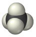 A black sphere is centered between four smaller white spheres arranged in a tetrahedral geometry.