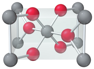 The unit cell for an oxide of tin. The unit cell has one gray atom (tin) within the cell and eight gray atoms at the corners of the cell (one eighth in and seven eighths out). The unit cell also has two red atoms (oxygen) within the cell and four red atoms within the faces of the cell (half in and half out).