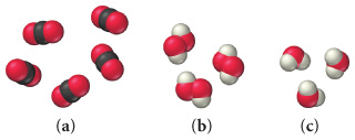 Three space-filling molecular models: a, b, and c. Model a consists of five molecules each with a central black sphere surrounded by two red spheres in a linear geometry. Model b consists of three molecules each with two combined red spheres and two white spheres, one on each red sphere. Model c consists of three molecules each with a central red sphere surrounded by two smaller white spheres in a bent geometry.